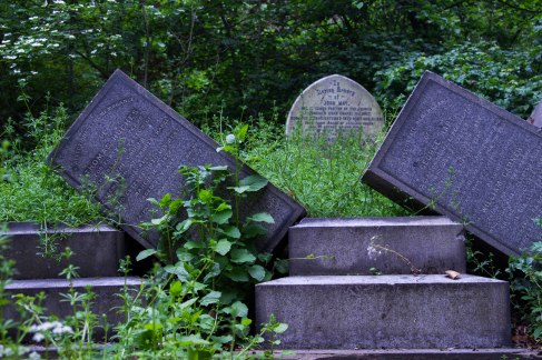 Fallen gravestoes close up